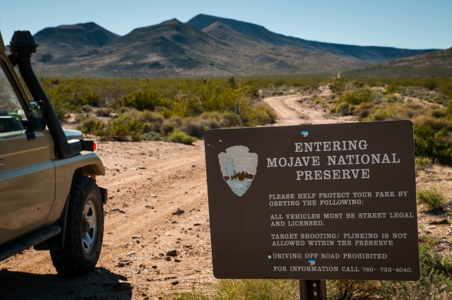 Entering Mojave National Preserve